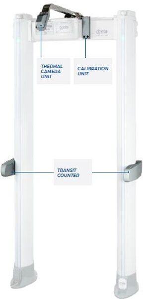 Stacionārais metāla detektors ar ķermeņa  temperatūras mērīšanas funkciju
